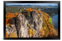 Golden Autumn in Saxon Switzerland , Framed Print