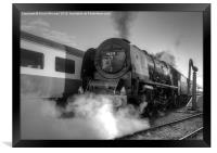 46233 Duchess Of Sutherland in black and white, Framed Print