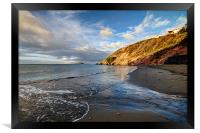 Early morning at Millendreath Beach Looe, Framed Print