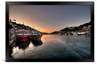 The sun goes down on the Looe River, Framed Print