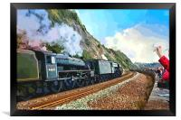 Waving to the Flying Scotsman Steam Train , Framed Print