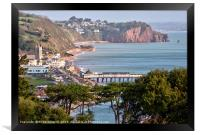 View of Teignmouth and The Parson and Clerk Rocks , Framed Print
