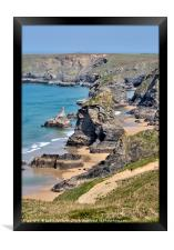 Portrait View of Bedruthan Steps in Cornwall, Framed Print