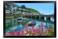 Colourful view of The Looe River and Bridge, Framed Print