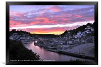 Vivid Sunset at Looe in South East Cornwall, Framed Print