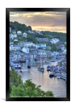 Sunset on The River Looe as Luggers arrive, Framed Print