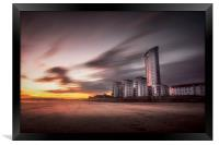 Sweeping clouds sunset on Swansea Bay, Framed Print