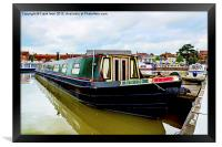 A Canal Narrowboat berthed on the Shropshire Union, Framed Print