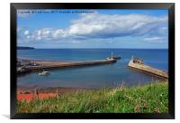 Whitby Harbour and its 2 piers, Framed Print