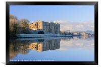Carew Castle on a cold frosty morning, Framed Print