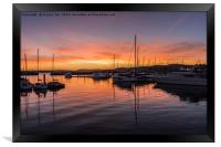 Reflections in Torquay Marina., Framed Print