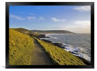 Path from Baggy point to Croyde and Woolacombe, Framed Print