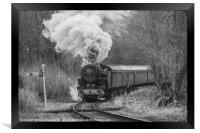 Steam train in black and white, Framed Print