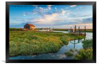 The picturesque old harbour at Thornham in Norfolk, Framed Print