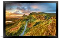 Dramatic sunrise sky over the Quiraing , Framed Print
