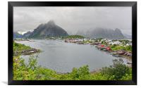 Reine on a Cold and Wet Summer Afternoon, Framed Print