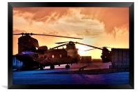 Ch47 Chinook Helicopter Aircraft, Framed Print