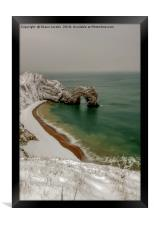 Durdle Door covered in snow , Framed Print