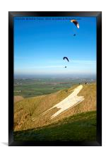 Paragliders, Westbury White Horse, Wiltshire, UK, Framed Print