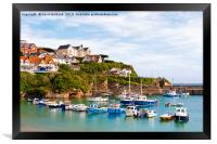 newquay harbour cornwall, Framed Print