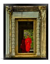 Buddhist Monk and Acolyte, Angkor Wat, Cambodia., Framed Print