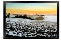 Snow on the East Yorkshire Wolds., Framed Print