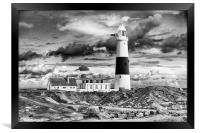 Portland Bill in mono. , Framed Print