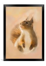 Squirrel, oil and chalk painted squirrel Print, Framed Print