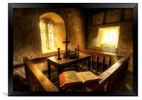 A bible at the altar at Llanrhychwyn Church, Framed Print