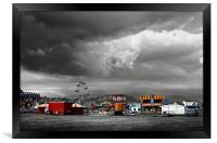 Funfair on a stormy day in Llandudno, Framed Print
