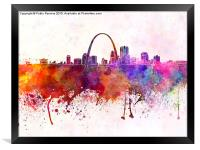 St Louis skyline in watercolor background, Framed Print