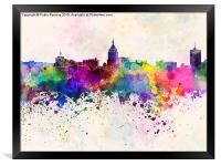 Fresno skyline in watercolor background, Framed Print