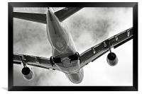Mighty Emirates A380 Glides into the distance.., Framed Print