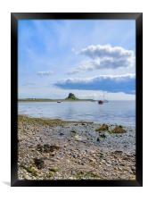 Lindisfarne Castle from across the harbour, Framed Print