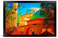 Digital painting of a colouful Turkish Mosque, Framed Print