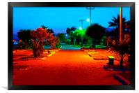 Digital painting of colouful gardens at nightime, Framed Print