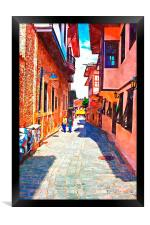cobbled back streets of Kaleici in Antalya Turkey, Framed Print