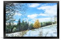 Late autumn landscape with larch, Framed Print
