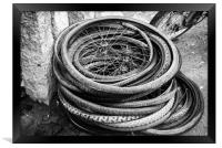 old bicycle tires and wheels, Framed Print