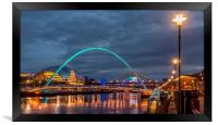 Beautiful bridges and quayside at night, Framed Print