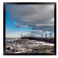 Lindisfarne causeway and refuge , Framed Print