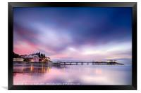 Famous Cromer pier in Norfolk England with pink su, Framed Print