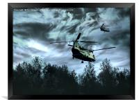 chinook over the ground, Framed Print