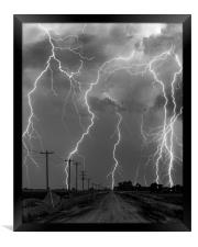 Lightning storm over Nebraska. , Framed Print