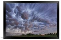 Mammatus clouds over Montana , Framed Print