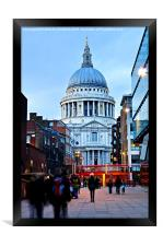 St. Paul's Cathedral in London at dusk, Framed Print
