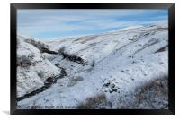 Brecon Beacons covered in snow, Framed Print