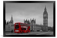 Big Ben and Red London Bus, Framed Print