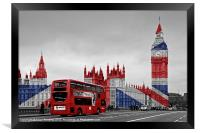 Union Jack and Red London Bus, Framed Print