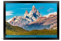 Lake and Andes Mountains, Patagonia - Argentina, Framed Print
